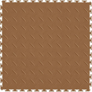 "Perfection Floor Tile Vinyl Diamond Tiles - 5mm Thick (20.5"" x 20.5"") in Tan Color Shown From the Top"