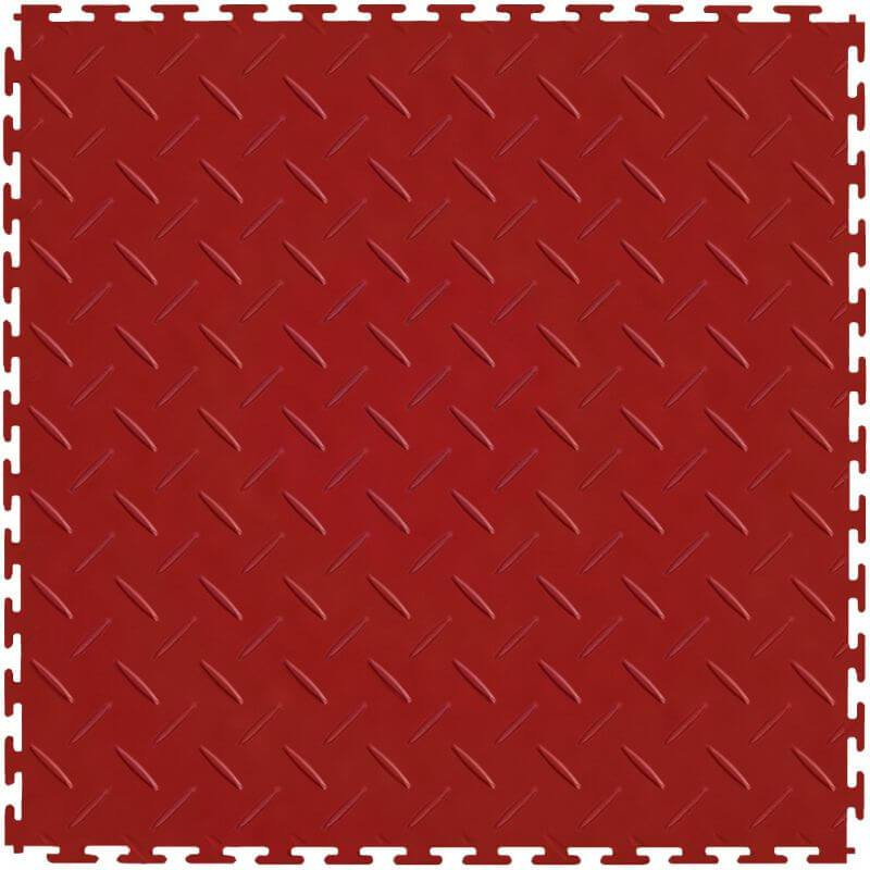 Perfection Floor Tile Vinyl Diamond Tiles in Red Shown from the Top