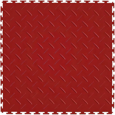 "Perfection Floor Tile Vinyl Diamond Tiles - 5mm Thick (20.5"" x 20.5"") in Red Shown From the Top"