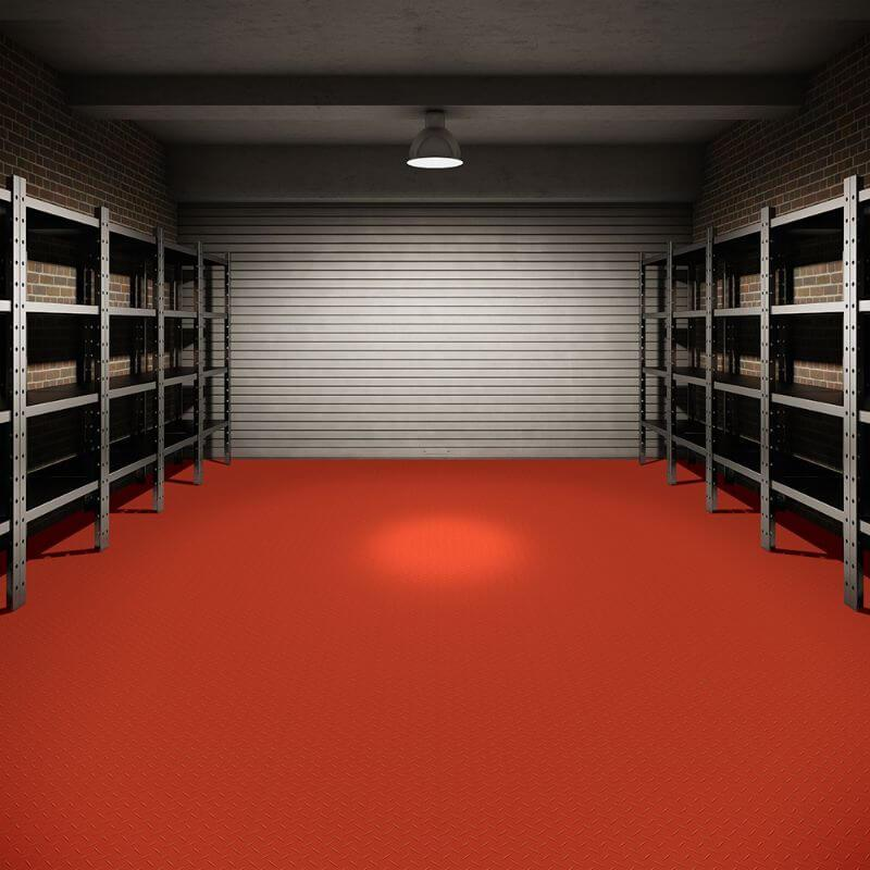 Perfection Floor Tile Vinyl Diamond Tiles in Red Shown in Context of a Garage