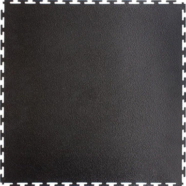 "Perfection Floor Tile Industrial Vinyl Smooth Tiles - 7mm Thick (20.5"" x 20.5"") in Black Shown from the Top"