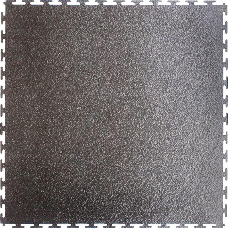 "Perfection Floor Tile Industrial Vinyl Smooth Tiles - 7mm Thick (20.5"" x 20.5"") in Dark Gray Shown from the Top"