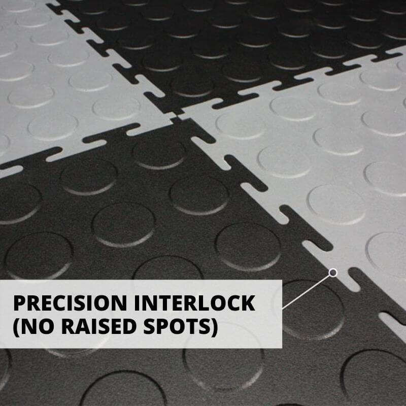 Perfection Floor Tile Vinyl Coin Tiles Comes with Precision Interlock, which prevents raised spots.