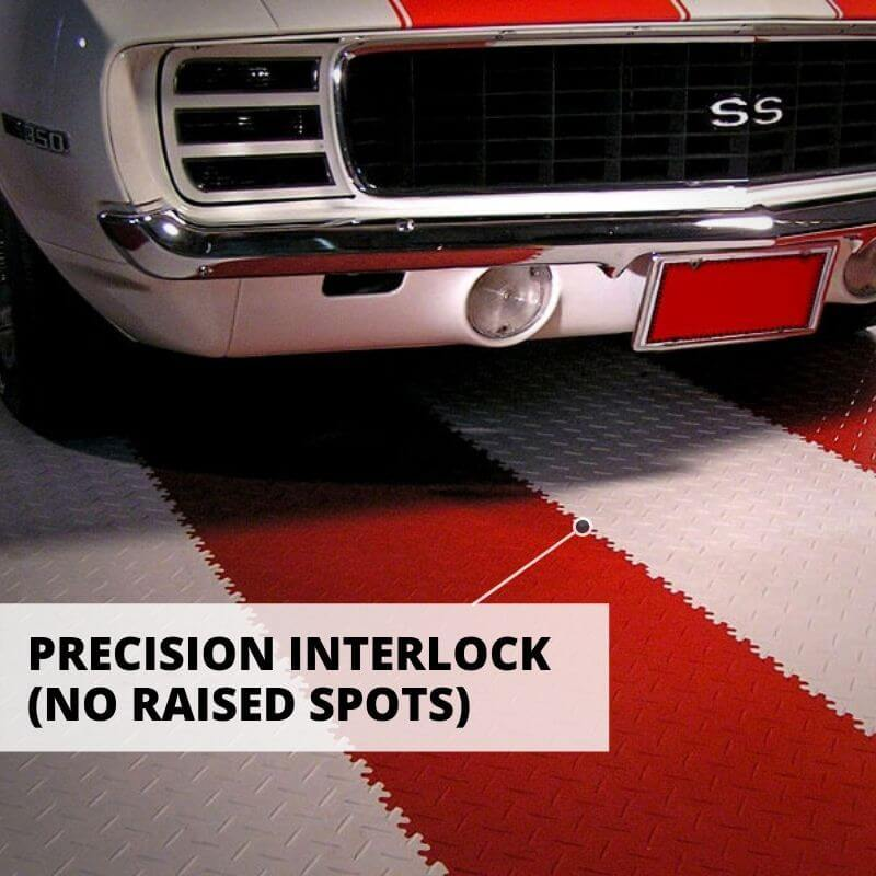 Perfection Floor Tile Vinyl Diamond Tiles Comes with Precision Interlock, which prevents raised spots.