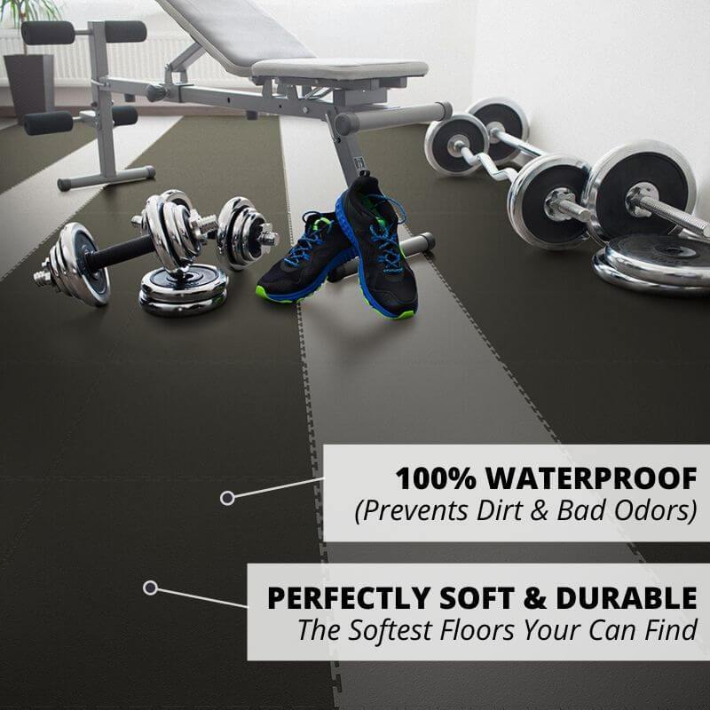 Perfection Floor Tile Duro-Gym Vinyl Smooth Tiles 100% Waterproof, which prevents dirt and bad odors, and perfectly soft and durable (The softest floors you can find)