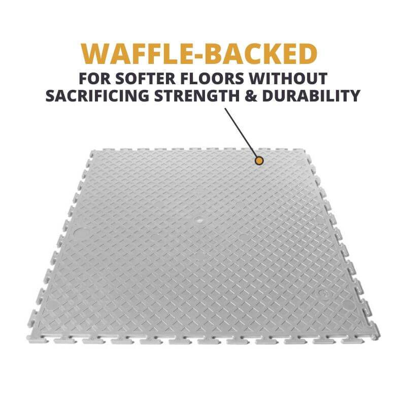 Perfection Floor Tile Duro-Gym Vinyl Smooth Tiles are Waffle-Backed, ensuring that the floors are softer without sacrificing strength and durability
