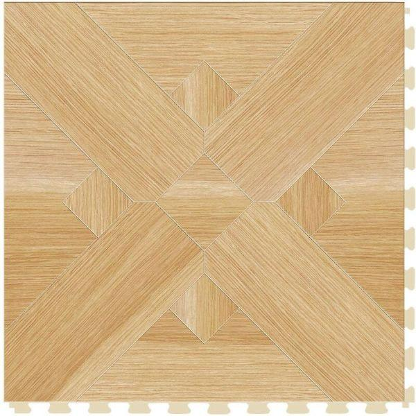 "Perfection Floor Tile Bordeaux Wood Luxury Vinyl Tiles - 5mm Thick (20"" x 20"") with Birch Wood Pattern Shown From the Top"