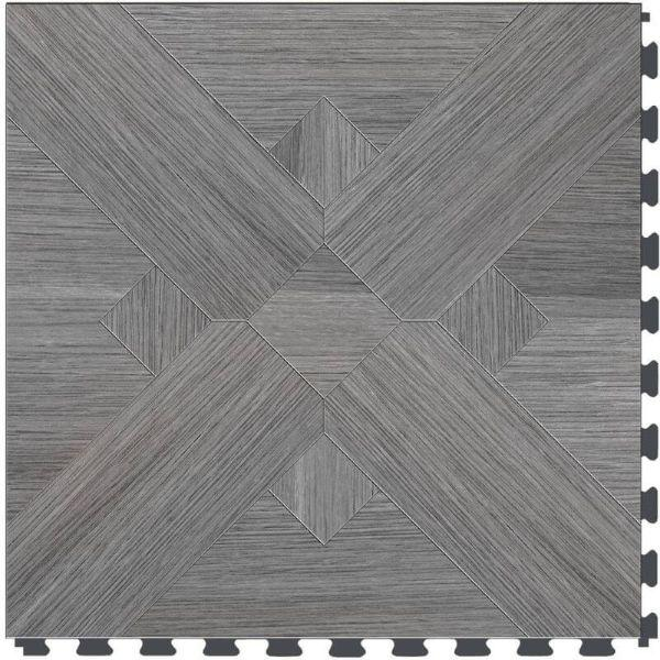 "Perfection Floor Tile Bordeaux Wood Luxury Vinyl Tiles - 5mm Thick (20"" x 20"") with Driftwood Pattern Shown From the Top"