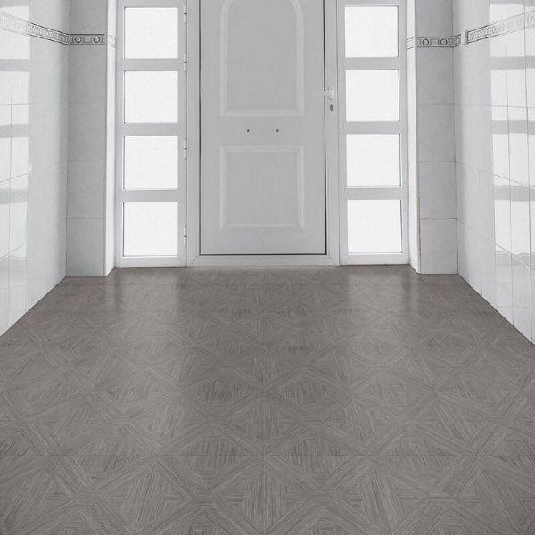 "Perfection Floor Tile Bordeaux Wood Luxury Vinyl Tiles - 5mm Thick (20"" x 20"") with Driftwood Pattern Shown in the Context of an Entrance Hallway"
