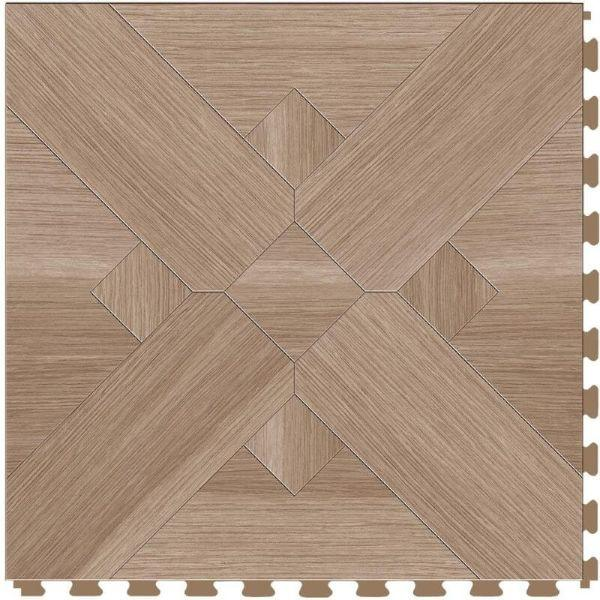"Perfection Floor Tile Bordeaux Wood Luxury Vinyl Tiles - 5mm Thick (20"" x 20"") with Hickory Wood Pattern Shown From the Top"
