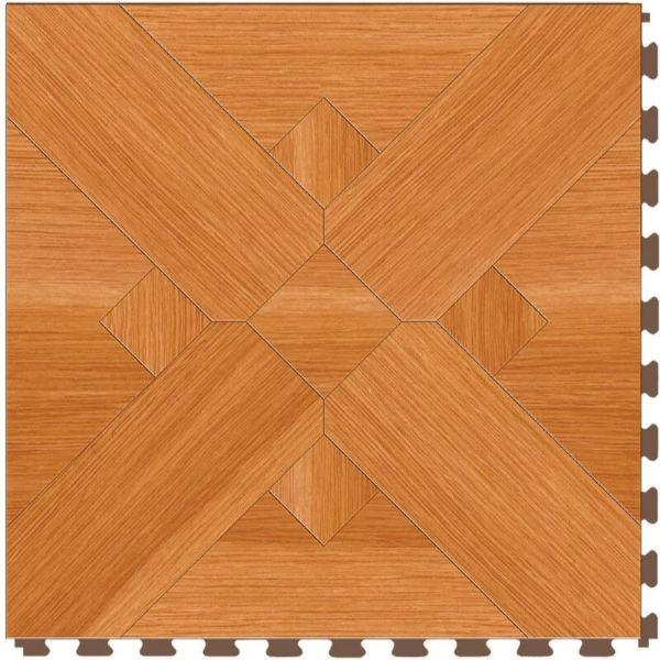 "Perfection Floor Tile Bordeaux Wood Luxury Vinyl Tiles - 5mm Thick (20"" x 20"") with Maple Wood Pattern Shown From the Top"