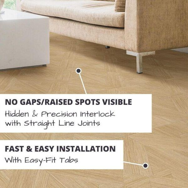 Perfection Floor Tile Bordeaux Wood Luxury Vinyl Tiles No Gaps/Raised Spots Visible with Hidden & Precision Interlock with Straight Line Joints.