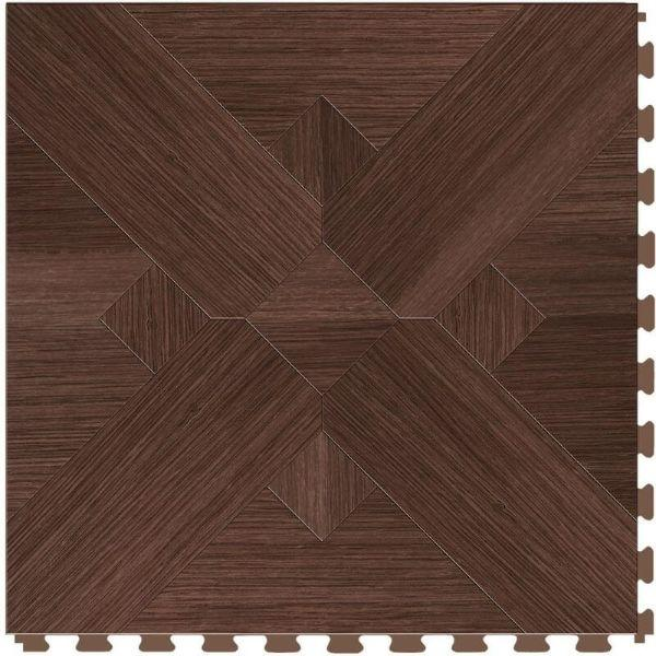 "Perfection Floor Tile Bordeaux Wood Luxury Vinyl Tiles - 5mm Thick (20"" x 20"") with Walnut Wood Pattern Shown From the Top"