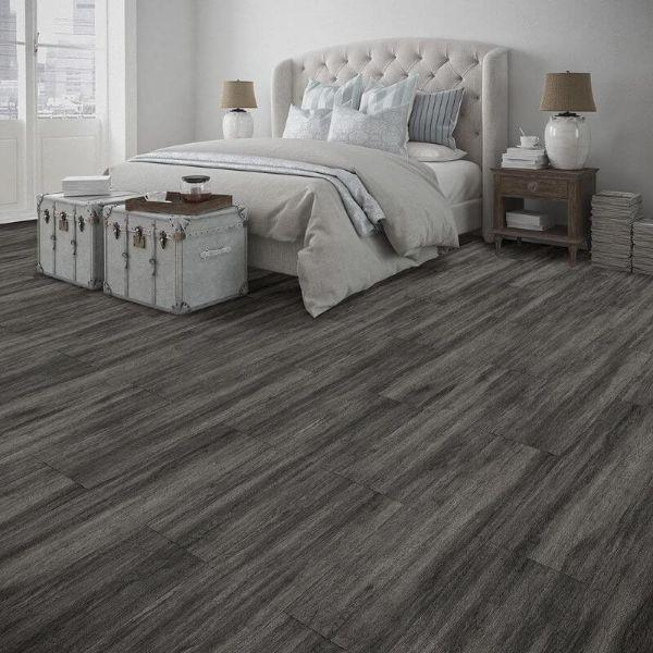 "Perfection Floor Tile Breckenridge Wood Luxury Vinyl Tiles - 5mm Thick (20"" x 20"") with Black Wood Pattern Shown in the Context of a Bedroom"