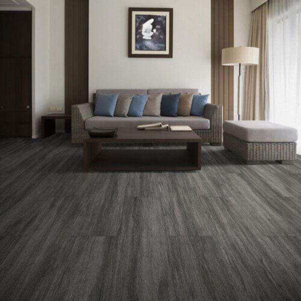 "Perfection Floor Tile Breckenridge Wood Luxury Vinyl Tiles - 5mm Thick (20"" x 20"") with Black Wood Pattern Shown in the Context of a Living Room"