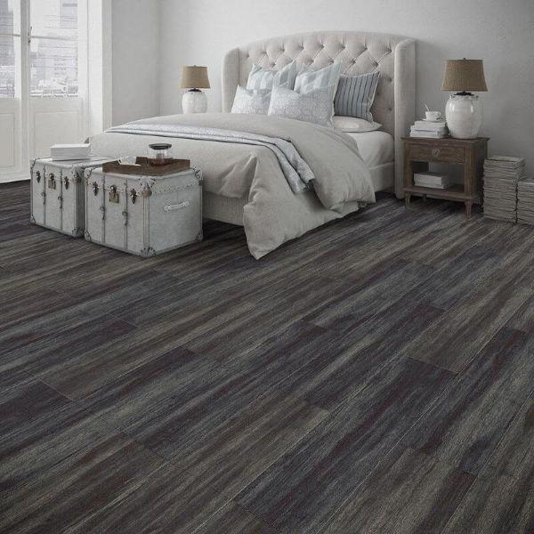 "Perfection Floor Tile Breckenridge Wood Luxury Vinyl Tiles - 5mm Thick (20"" x 20"") with Blue Mahoe Wood Pattern Shown in the Context of a Bedroom"