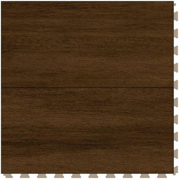 "Perfection Floor Tile Breckenridge Wood Luxury Vinyl Tiles - 5mm Thick (20"" x 20"") with Chestnut Wood Pattern Shown From the Top"