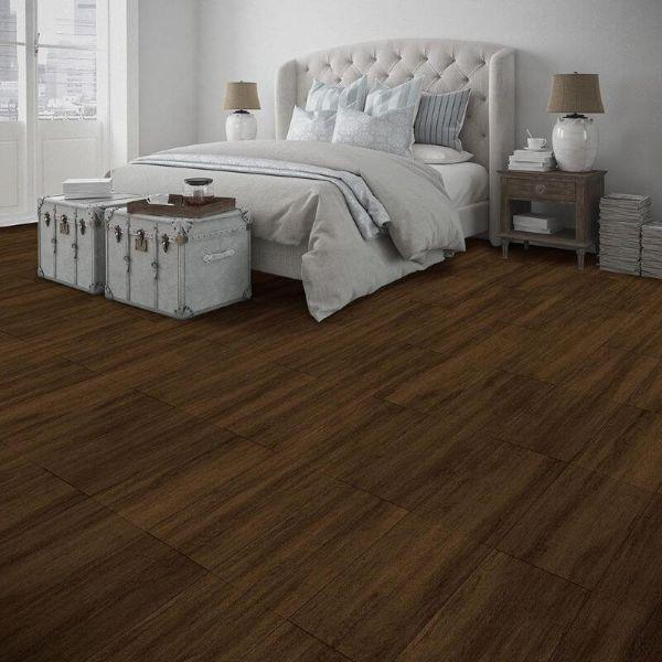 "Perfection Floor Tile Breckenridge Wood Luxury Vinyl Tiles - 5mm Thick (20"" x 20"") with Chestnut Wood Pattern Shown in the Context of a Bedroom"