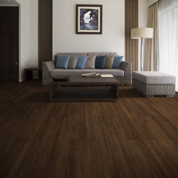 "Perfection Floor Tile Breckenridge Wood Luxury Vinyl Tiles - 5mm Thick (20"" x 20"") with Chestnut Wood Pattern Shown in the Context of a Living Room"