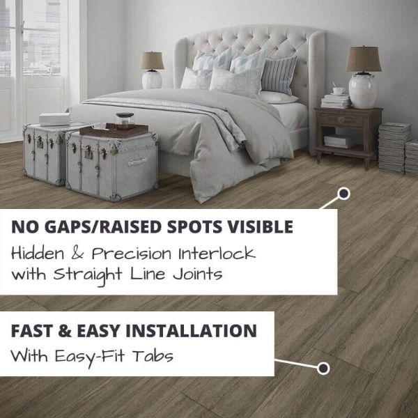 Perfection Floor Tile Breckenridge Wood Luxury Vinyl Tiles No Gaps/Raised Spots Visible with Hidden & Precision Interlock with Straight Line Joints.