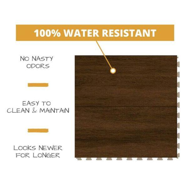 Perfection Floor Tile Breckenridge Wood Luxury Vinyl Tiles 100% water resistant to prevent nasty odors, easy to clean and maintain, and looking newer for longer