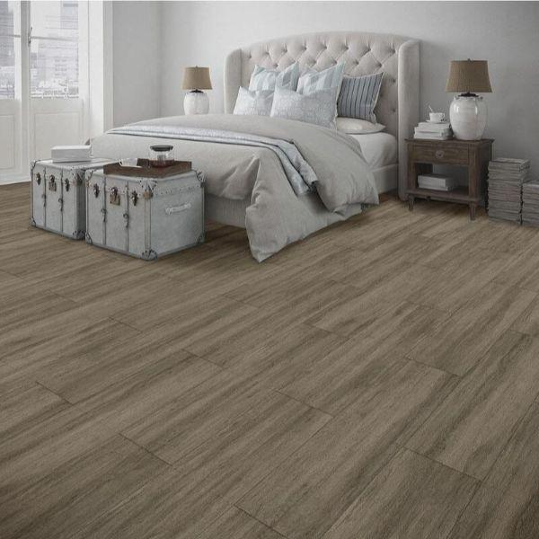 "Perfection Floor Tile Breckenridge Wood Luxury Vinyl Tiles - 5mm Thick (20"" x 20"") with Willow Wood Pattern Shown in the Context of a Bedroom"
