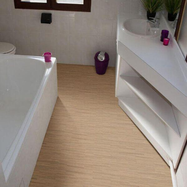 "Perfection Floor Tile Classic Plank Wood Luxury Vinyl Tiles - 5mm Thick (20"" x 20"") with Aprono Wood Pattern Shown in the Context of a Bathroom"