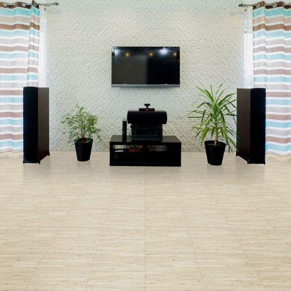 "Perfection Floor Tile Classic Plank Wood Luxury Vinyl Tiles - 5mm Thick (20"" x 20"") with Bamboo Wood Pattern Shown in the Context of a Living Room"