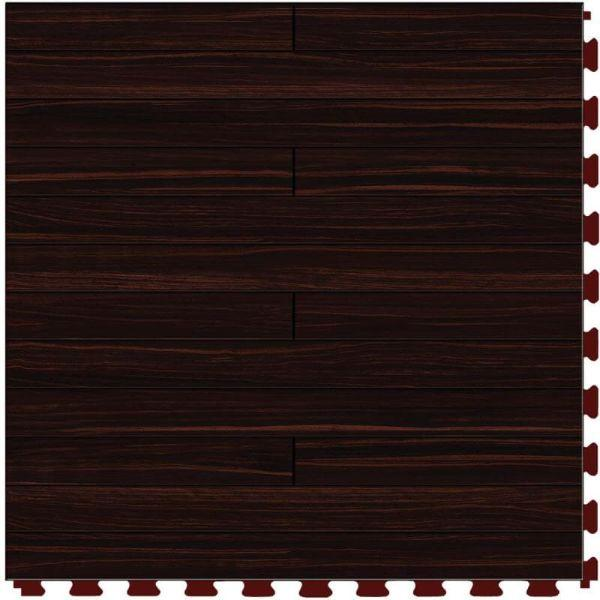 "Perfection Floor Tile Classic Plank Wood Luxury Vinyl Tiles - 5mm Thick (20"" x 20"") with Mahogany Wood Pattern Shown From the Top"