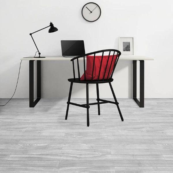 "Perfection Floor Tile Classic Plank Wood Luxury Vinyl Tiles - 5mm Thick (20"" x 20"") with South Shore Oak Wood Pattern Shown in the Context of a Home Office"