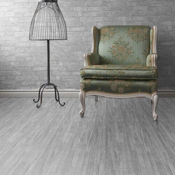 "Perfection Floor Tile Classic Plank Wood Luxury Vinyl Tiles - 5mm Thick (20"" x 20"") with South Shore Oak Wood Pattern Shown in the Context of a Living Room"