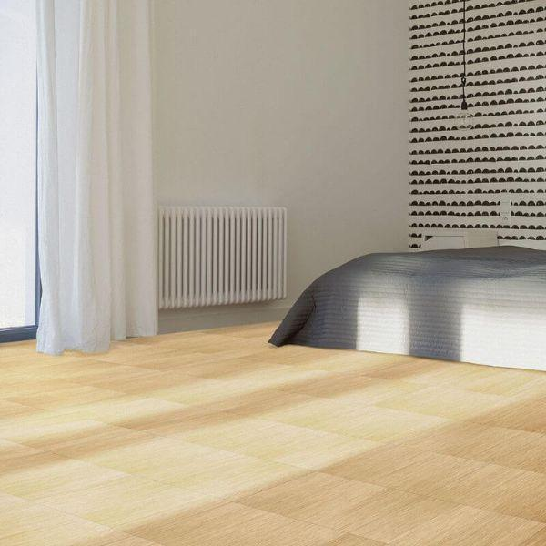 "Perfection Floor Tile Classic Wood Luxury Vinyl Tiles - 5mm Thick (20"" x 20"") with Birch Wood Pattern Shown in the Context of a Bedroom"