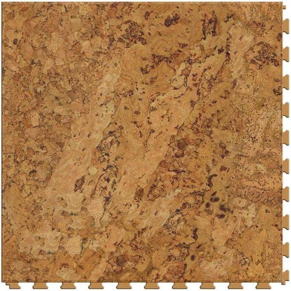 "Perfection Floor Tile Classic Wood Luxury Vinyl Tiles - 5mm Thick (20"" x 20"") with Cork Wood Pattern Shown From the Top"