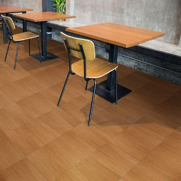 "Perfection Floor Tile Classic Wood Luxury Vinyl Tiles - 5mm Thick (20"" x 20"") with Maple Wood Pattern Shown in the Context of a Dining Area"