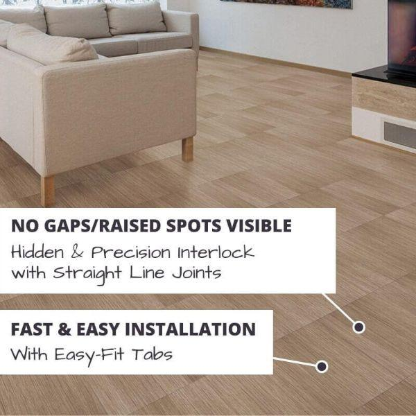 Perfection Floor Tile Classic Wood Luxury Vinyl Tiles No Gaps/Raised Spots Visible with Hidden & Precision Interlock with Straight Line Joints.