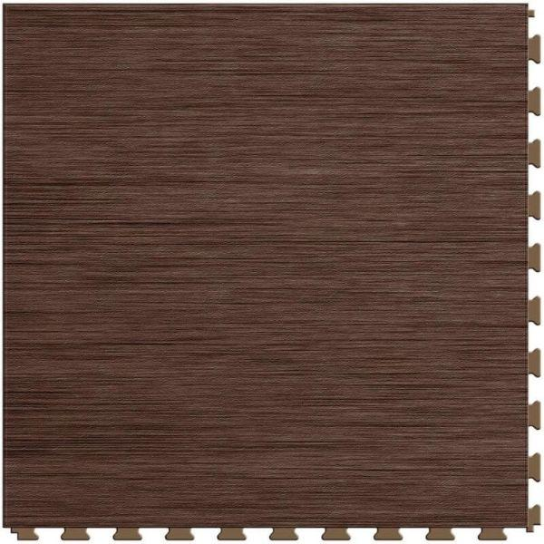 "Perfection Floor Tile Classic Wood Luxury Vinyl Tiles - 5mm Thick (20"" x 20"") with Walnut Wood Pattern Shown From the Top"