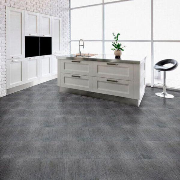 "Perfection Floor Tile Deadwood Luxury Vinyl Tiles - 5mm Thick (20"" x 20"") with Barnwood Pattern Shown in the Context of a Large Modern Kitchen"