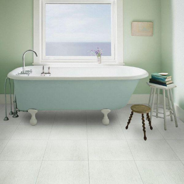 "Perfection Floor Tile Deadwood Luxury Vinyl Tiles - 5mm Thick (20"" x 20"") with Death Valley Wood Pattern Shown in the Context of a Bathroom"