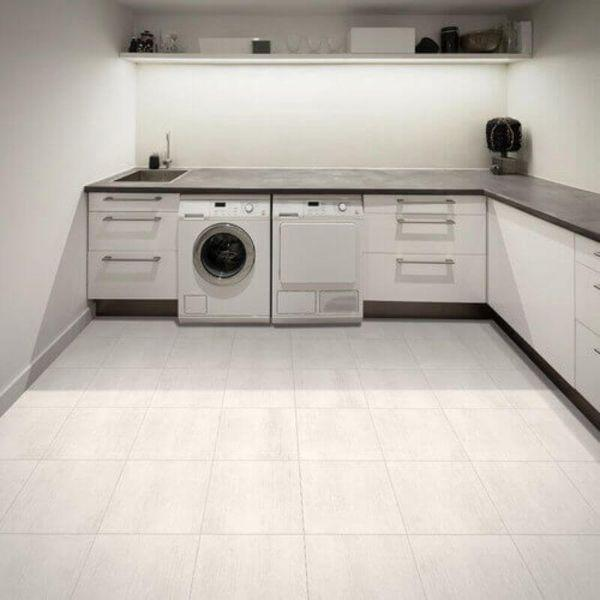 "Perfection Floor Tile Deadwood Luxury Vinyl Tiles - 5mm Thick (20"" x 20"") with Death Valley Wood Pattern Shown in the Context of a Utility Room"