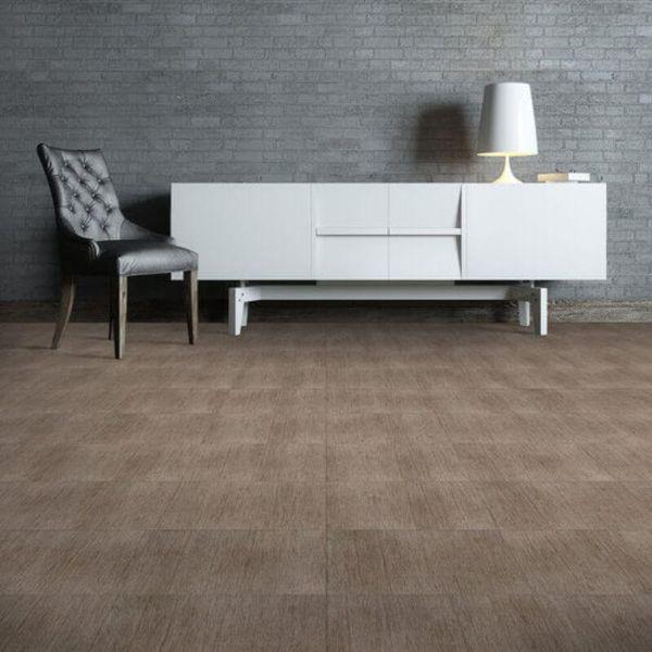"Perfection Floor Tile Deadwood Luxury Vinyl Tiles - 5mm Thick (20"" x 20"") with Millhouse Wood Pattern Shown in the Context of a Living Room"