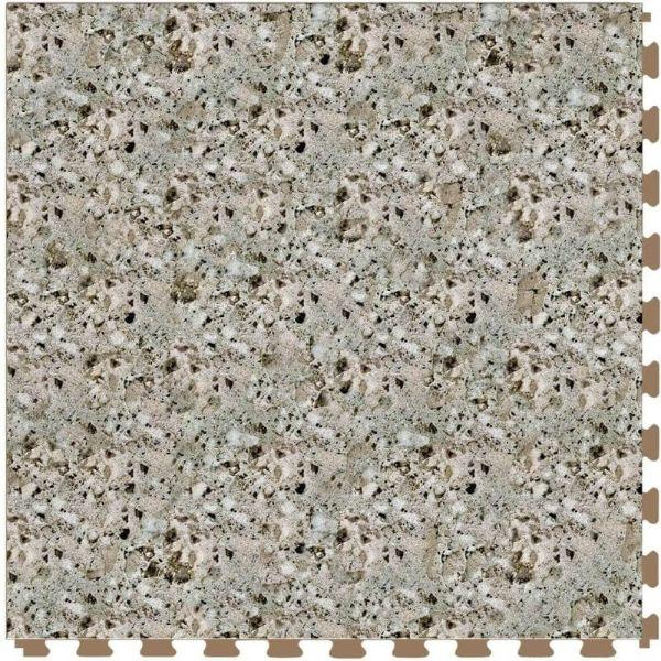 "Perfection Floor Tile Granite Luxury Vinyl Tiles - 5mm Thick (20"" x 20"") with Beige Granite Pattern Shown From the Top"