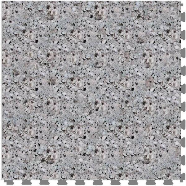 "Perfection Floor Tile Granite Luxury Vinyl Tiles - 5mm Thick (20"" x 20"") with Gray Granite Pattern Shown From the Top"