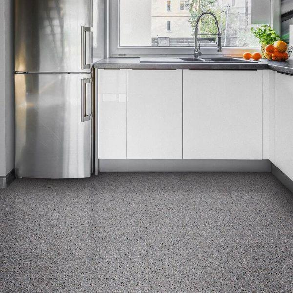 "Perfection Floor Tile Granite Luxury Vinyl Tiles - 5mm Thick (20"" x 20"") with Gray Granite Pattern Shown in the Context of a Kitchen"