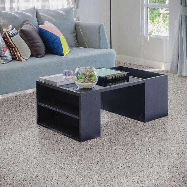 "Perfection Floor Tile Granite Luxury Vinyl Tiles - 5mm Thick (20"" x 20"") with Light Granite Pattern Shown in the Context of a Living Room"