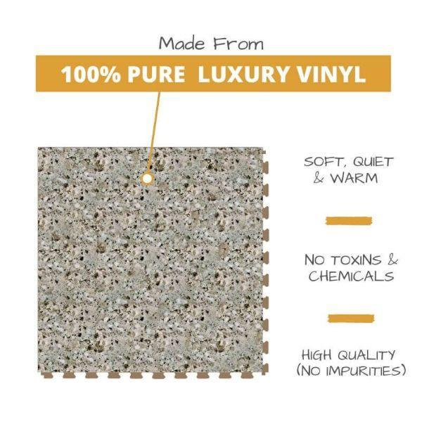 Perfection Floor Tile Granite Luxury Vinyl Tiles Made From 100% Pure Luxury Vinyl. Softer, Quieter and Warmer than PVC Floors. No Toxins or Chemicals. High Quality with no impurities.