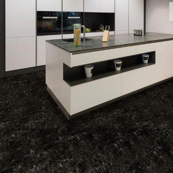 "Perfection Floor Tile Marble Luxury Vinyl Tiles - 5mm Thick (20"" x 20"") with Black Marble Pattern Being Used in a Kitchen"