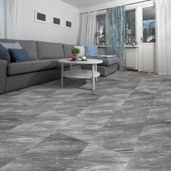 "Perfection Floor Tile Marble Luxury Vinyl Tiles - 5mm Thick (20"" x 20"") with Border Opal Pattern Being Used in a Living Room"
