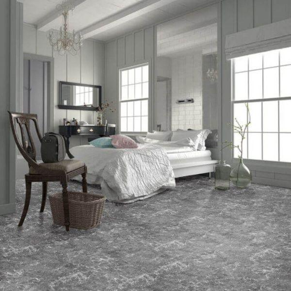 "Perfection Floor Tile Marble Luxury Vinyl Tiles - 5mm Thick (20"" x 20"") with Emoress Marble Pattern Being Used in a Bedroom"