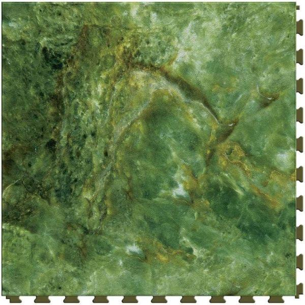 "Perfection Floor Tile Marble Luxury Vinyl Tiles - 5mm Thick (20"" x 20"") with Malachite Stone Pattern Shown From the Top"