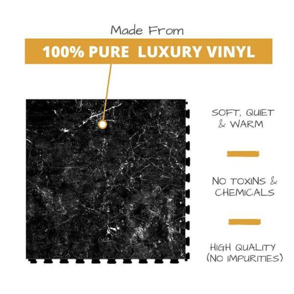 Perfection Floor Tile Marble Luxury Vinyl Tiles Made From 100% Pure Luxury Vinyl. Softer, Quieter and Warmer than PVC Floors. No Toxins or Chemicals. High Quality with no impurities.